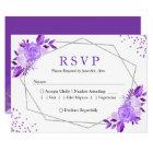 Lavender Purple Floral Grey Frame Wedding RSVP Card