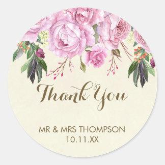Lavender purple floral wedding thank you sticker