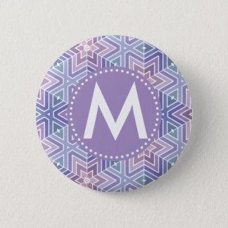Lavender Purple Geometric Pattern & Monogram 6 Cm Round Badge