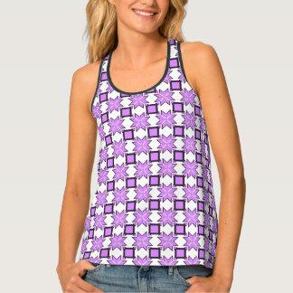 Lavender Purple Geometric Pixel Pattern Singlet