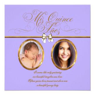 """Lavender Purple Gold Photo Quinceanera Invitations 5.25"""" Square Invitation Card"""