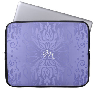 Lavender Purple Gradient Classic Damask Monogram Laptop Sleeve