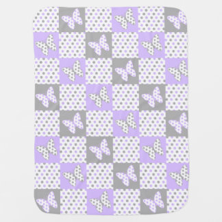 Lavender Purple Gray Grey Butterfly Polka Dot Girl Baby Blanket