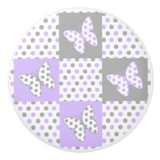 Lavender purple Grey Gray Polka Dot Quilt Girl Ceramic Knob