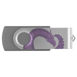 Lavender purple heart dragon USB flash drive
