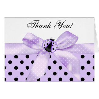 Lavender Purple Ladybug Thank You Cards