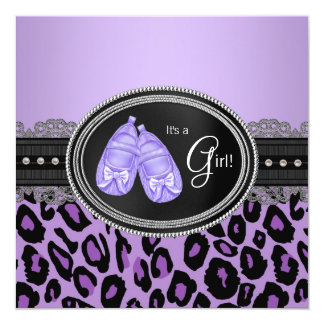 Lavender Purple Leopard Baby Girl Shower Card