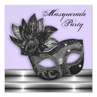Lavender Purple Masquerade Party Invitations
