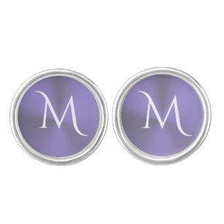 Lavender Purple Metallic Monogram Cufflinks