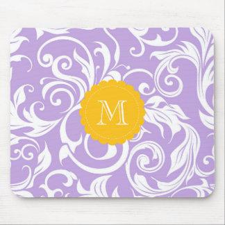 Lavender Purple Monogram Floral Wallpaper Pattern Mouse Pad