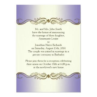 Lavender Purple Ornate Gold Scrolls Post Wedding I Card