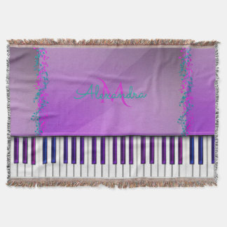 Lavender Purple Piano Monogram Music Throw Blanket