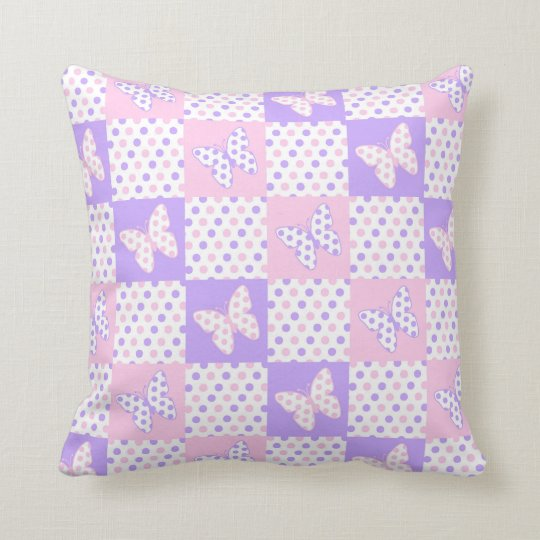 Lavender Purple Pink Butterfly Polka Dot Quilt Cushion