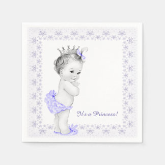Lavender Purple Princess Baby Shower Paper Napkins