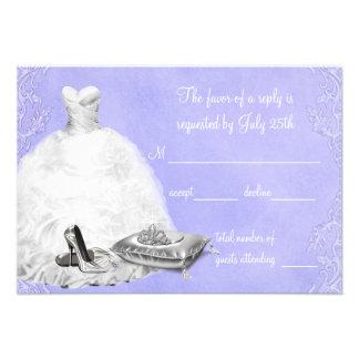 Lavender Purple Quinceanera RSVP Personalized Invitation
