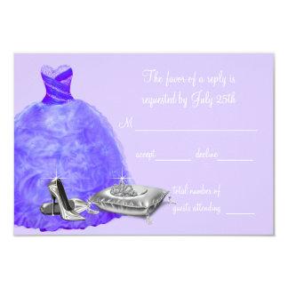 "Lavender Purple Quinceanera RSVP 3.5"" X 5"" Invitation Card"