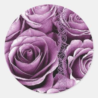 LAVENDER PURPLE Roses - Wedding Envelope Seal Sticker
