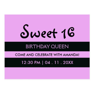 Lavender Purple & Stripes | Sweet Sixteen Birthday Postcard