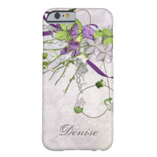 Lavender Purple Sweet Peas Greenery Swirls Barely There iPhone 6 Case