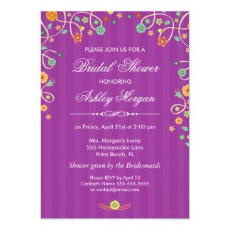 Lavender Purple Swirl Floral Bridal Shower 13 Cm X 18 Cm Invitation Card