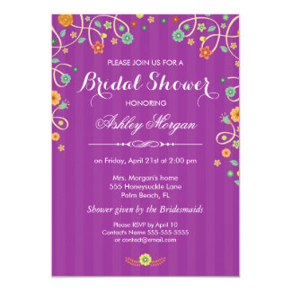 Lavender Purple Swirl Floral Bridal Shower Card