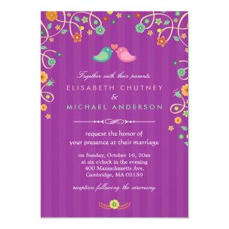 Lavender Purple Swirl Floral Love Birds Wedding 13 Cm X 18 Cm Invitation Card