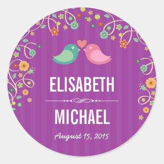 Lavender Purple Swirl Floral Love Birds Wedding Round Sticker