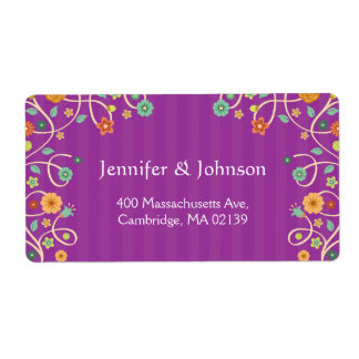 Lavender Purple Swirl Floral - Stylish Whimsical Shipping Label