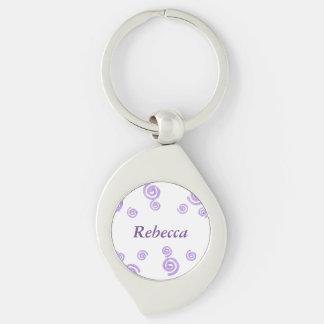 Lavender Purple Swirls Personalized Swirl Keychain