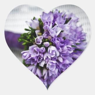 Lavender Purple Tulip Wedding Bouquet Heart Sticker