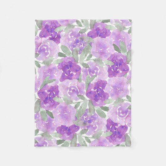 Lavender Purple Watercolor Floral Pattern Fleece Blanket