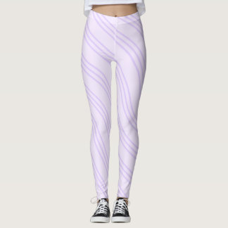 Lavender Purple Wavy Line Pattern Leggings