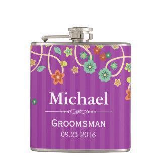 Lavender Purple Whimsical Swirl Floral Wedding Hip Flask