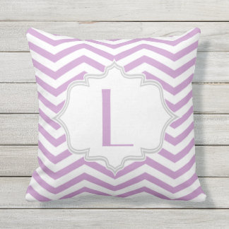 Lavender purple, white chevron zigzag pattern cushion