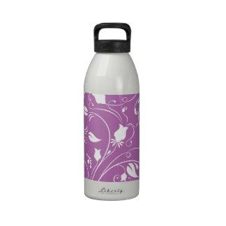 Lavender Purple, White Floral Swirls; Flowers Drinking Bottle