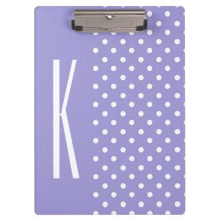 Lavender Purple & White Polka Dots Clipboard