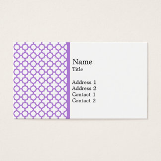 Lavender Quatrefoil Pattern Business Card