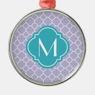 Lavender Quatrefoil Pattern with Monogram Silver-Colored Round Decoration