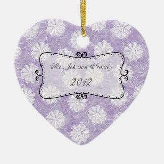 Lavender Rice Paper Floral Ceramic Heart Decoration