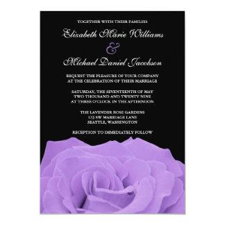 Lavender Rose and Black Wedding Card