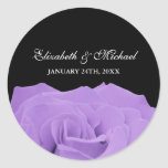 Lavender Rose and Black Wedding Favour Label Round Sticker