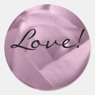Lavender Rose, Love! Round Sticker