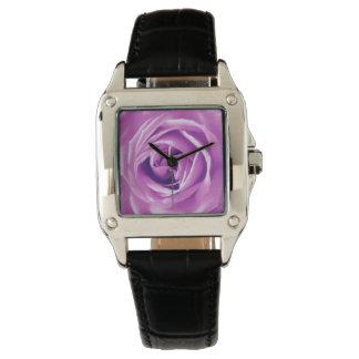 Lavender rose print wristwatch