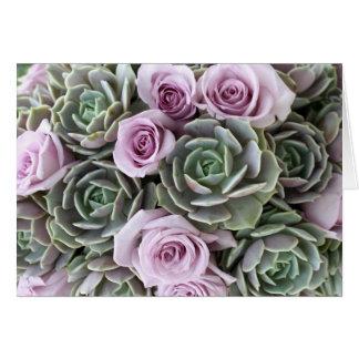 Lavender roses and echeverias card