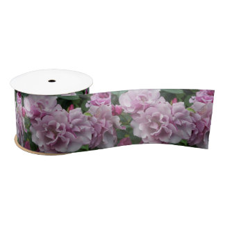 Lavender Roses Floral Satin Ribbon