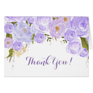 Lavender roses Floral Thank you Note Card