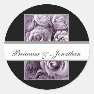 LAVENDER Roses - Monogram Bride and Groom Sticker