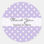 Lavender Round Custom Polka Dotted Thank You Round Sticker