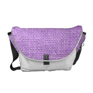 Lavender Rustic Grunge Burlap Texture Messenger Bags