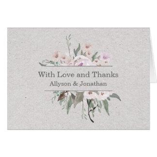 Lavender Sage Grey Green Floral Thank You   Card